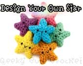 Custom Star Amigurumi Crochet Kawaii Toy Keychain Necklace Design Your Own