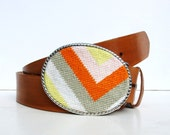 Needlepoint Valencia Bold Chevron Belt Buckle