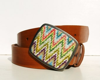 Needlepoint Pastel Sharp Chevron Belt Buckle