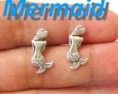 MERMAID sirenita silver plated tone earrings stud Sirena marine ocean blue SEA nautical collectible mystical
