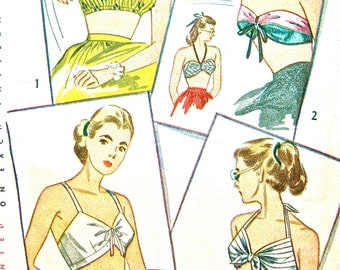 1940s Simplicity 2026 Bra Top Sewing Pattern   Small Bust 30 to 32 inches