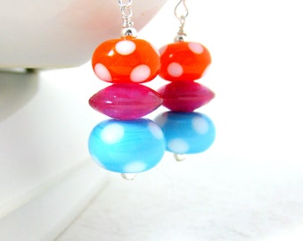 Polka Dot Earrings, Aqua Blue Pink Orange Earrings, Lampwork Earrings, Colorful Earrings, Glass Earrings, Polka Dot Jewelry - Polka Dots