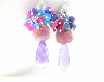 Colorful Gemstone Cluster Earrings, Amethyst Earrings, Boro Lampwork Earrings, Pink Blue Purple Glass Earrings, Gemstone Jewelry - Dreamy