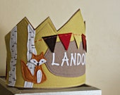 Woodland Celebration Fox Crown with Birch Trees
