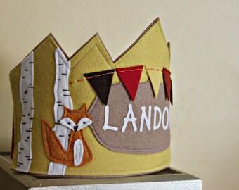 Woodland Celebration Fox Crown with Birch Trees