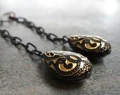 Art Deco Jewelry Black and Gold Dangle Drop Earrings Niobium Wire