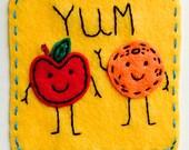 Dynamic Duos Apples and Oranges Eco Felt Applique Funny Onesie Bodysuit