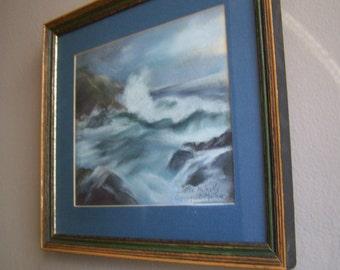 Vintage Seascape Pastel Drawing / Ogunquit Maine /Ocean Scene Wall Art