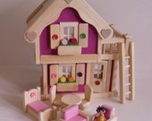 Wooden Doll House, Handmade Dollhouse, Natural Wood Toy Furniture, Waldorf inspired, Kids Easter gift, Jacobs Wooden Toys 'MAGENTA BLOSSOM'