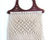 Vintage Macrame Tote Bag Market Bag, Shopping Bag Off White