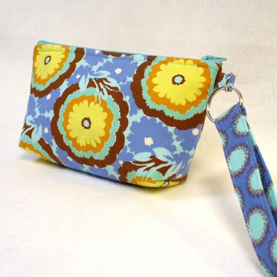 SALE! Womens Wristlet Clutch Purse Zipper Pouch Cosmetic Bag Key Fob Amy Butler Fabric Buttercups Cyan Blue Yellow  Soul Blossoms