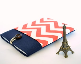 "Laptop Case 11.6"" to 15.6"" Laptop Sleeve, Custom Size Chromebook, MacBook Air or Pro, 12 inch Laptop, Surface Pro 3 Cover - Chevron and Navy"