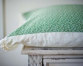 Pillowcases With Crochet Trim Border - Green Floral with a Cream Crochet border