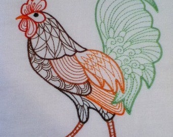 Machine Embroidery Design- Rooster Colorline #08 with 4 sizes Included!