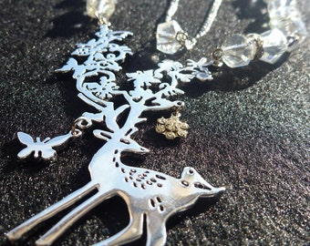 Silver Deer and Clear Beaded Necklace