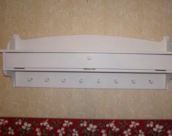 "48"" Pine Coat Rack Glove Storage Painted White Wall Storage Unit"