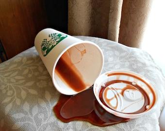 Fake Spilled 16 oz NL Cup of Black Coffee Grande Cup Fun Prop Gag