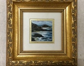 Big Sur, Miniature Painting, Matted and Framed