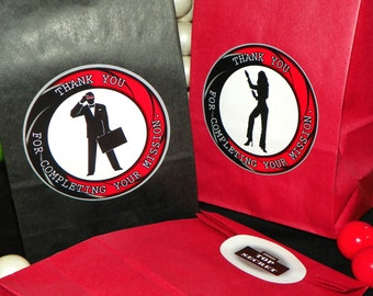Spy Themed Party Favor Goody Bags w/Sticker Seals Included. Spy Favor Bags Gift Bags. Spy Party. Set of 10. You Choose Size. Can Customize