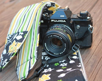 Ready To Ship Monogramming Not Available Extra Long Wide Camera Strap for DSL Camera Black Print with Stripe Reverse and Lens Cap Pocket