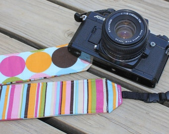 Monogramming Included Camera Strap for DSL Camera Light Blue Multi Polka Dot with Strip Reverse