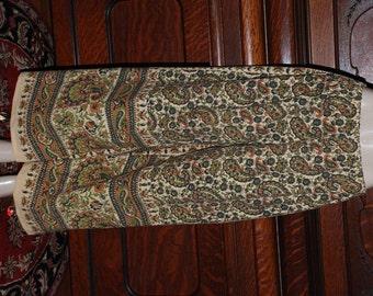 "Hippie Pants - Green Rust Paisley -39"" long - Hips 48"" - read measurements"