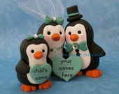 Penguin Family Wedding Cake Topper (one child) Teal Blue Accents Personalized Names