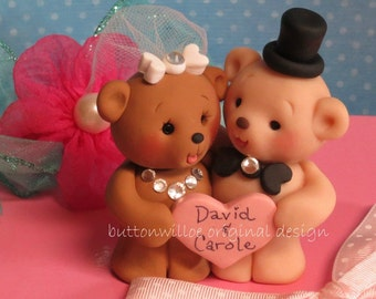 Teddy Bears Personalized Wedding Cake Topper or Centerpiece Keepsake Bridal Shower Cake Topper or Anniversary