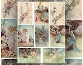 Fairies Illustrated by Warwick Goble Digital Collage Sheet Victorian Illustrations Instant  Download Printables
