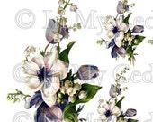 Instant Digital Download Vintage Purple Blossoms Magnolia Flowers Transparent PNG and Instructions to make Waterslide Decals Bonus! ECS