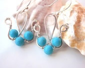 Silver And Genuine Turquoise Wire Wrapped Earrings