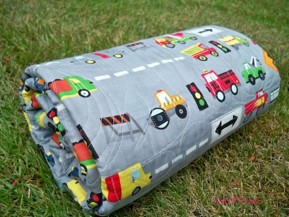 Boy quilt Baby Toddler snuggle quilt Trains Trucks Cars Ten Little Things reversible