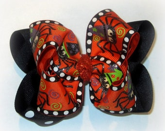 Sassy Spider Double Layered Boutique Halloween Fall Lush Hair Bow Spikey Edges 2 sizes Baby Toddler or Little Girl Bright Neon Lime Orange