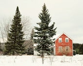 Red House - 8x12 Fine Art Photography Print - rural vintage abandoned cottage old Michigan green Winter landscape nature snow love home - riotjane