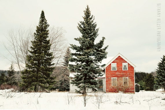 Red House - 8x12 Fine Art Photography Print - rural vintage abandoned cottage old Michigan green Winter landscape nature snow love home