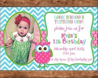 Cute Owl Chevron Polka Dots Girl Birthday Party with PHOTO Invitation - DIGITAL FILE