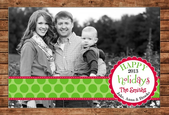 Photo Picture Christmas Holiday Ribbon Banner Scallop Monogram Preppy Modern Print Card - Digital File