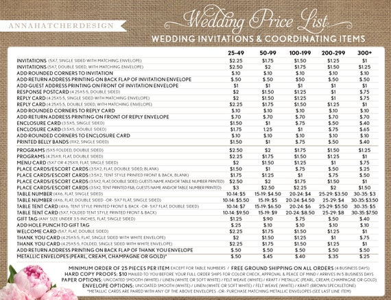 Wedding Cards Price List. Wedding Photographer Pricing Guide Price