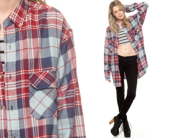 Oversized Plaid Shirt 90s Flannel Shirt Grunge Red Baby Blue