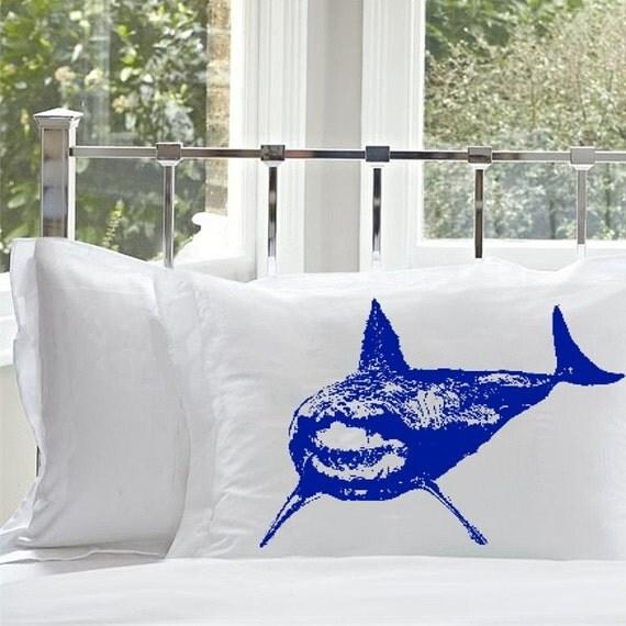 One (1) Blue Shark Pillowcase cover Mouth teeth jaws WEEK NAUTICAL tiger bull sharks decor vintage Sea pillow case royal blue fishing fish
