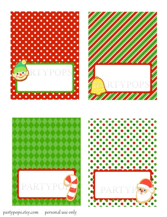 Food Label or Name place card, Tabel tent cards, PRINTABLE, Christmas ...