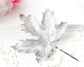 Sterling Silver Plated Leaf Hair Pin - Bobby Pin - Maple Leaf - Woodland Collection - Whimsical - Nature - Bridal