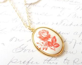 Vintage Limoges Flower Necklace - Red Rose - Rose Garden