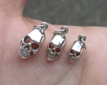Sterling Silver Skull Head Charm(one skull) 3 sizes - You choose which one