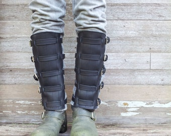 Steampunk Black Leather Shin Guards, Shinguards or Gaiters with Nickel Hardware for Men or Women