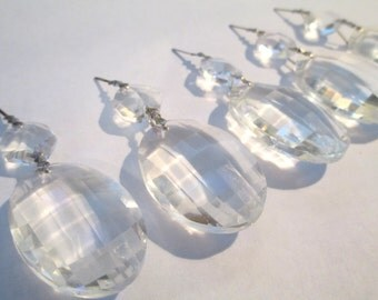 5 - 38mm Chandelier Crystals Prisms - 2-Part Clear Matrix Glass Chandelier Crystals (S-15)