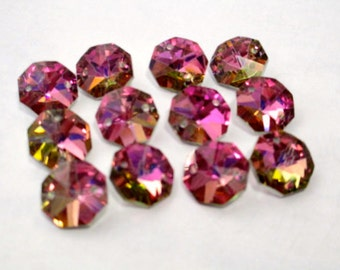 12 Iridescent Bright Pink Honey 14mm Crystal Jewelry 2 Hole Connectors (S-PB)