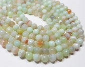 "7"" Gemstone STRAND - Agate Beads - 10mm Faceted Rounds - Light Lime Green with Orange (7"" strand - 18 beads) - str842"