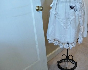 Lace Wonderland Skirt Patchwork Layered Art Collage Tea Party Womens One Size Story Folk Fiber Tattered Bridal
