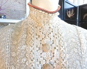 1890-1900 Antique Lace Gibson Girl High Neck Bodice Victorian Edwardian Shirt Coral Collar 38 Bust